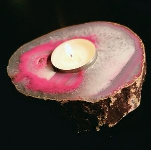 Accessories - Pink Agate Tealight Holder